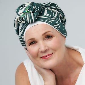 Palm Print Bow Turban With White Cap | Headwear By Ayelet