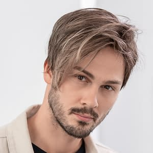 Dave Wig For Men | Heat Friendly Synthetic (Part Mono) | 7 Colours