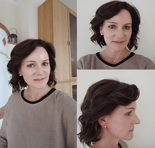Customer Review Photo wearing January Petite Wig 8/32 | Cocoa Bean