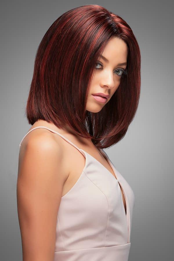 Carrie Wig by Jon Renau in FS2V/31V | Chocolate Cherry | Black/Brown Violet, Med Red/Violet Blend with Red/Violet Bold Highlights