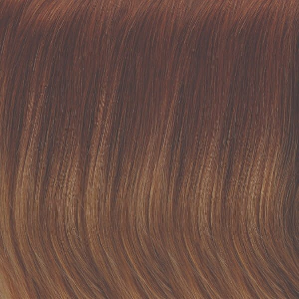 B8/30-14/26RO | Med Red-Gold Brown Roots to Midlengths, light Gold Blonde Midlengths to Ends